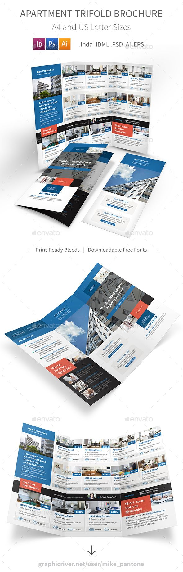 Apartment For Rent Trifold Brochure 3 Informational Brochures
