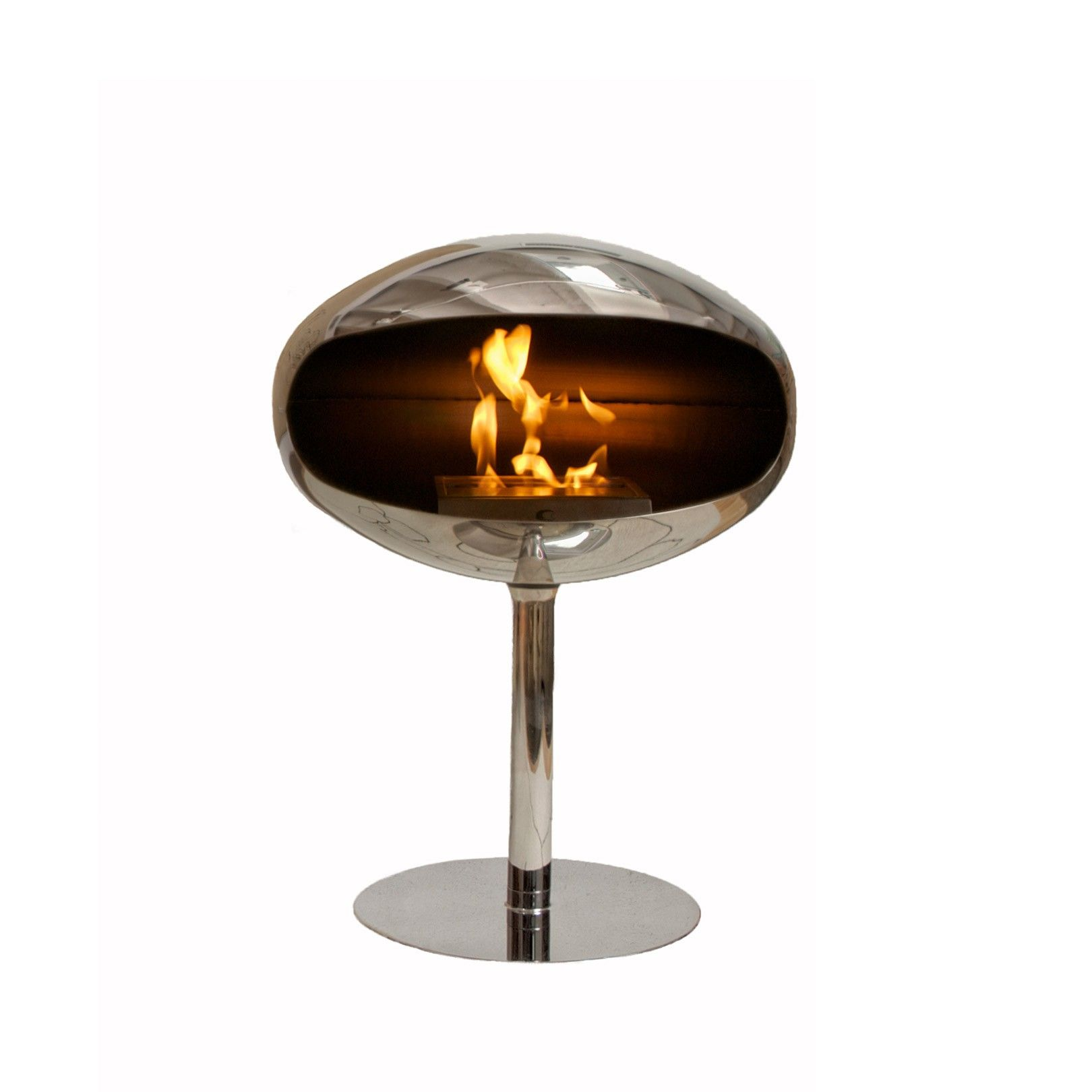 Cocoon Aeris Hanging Fireplace Polished Steel For both indoors
