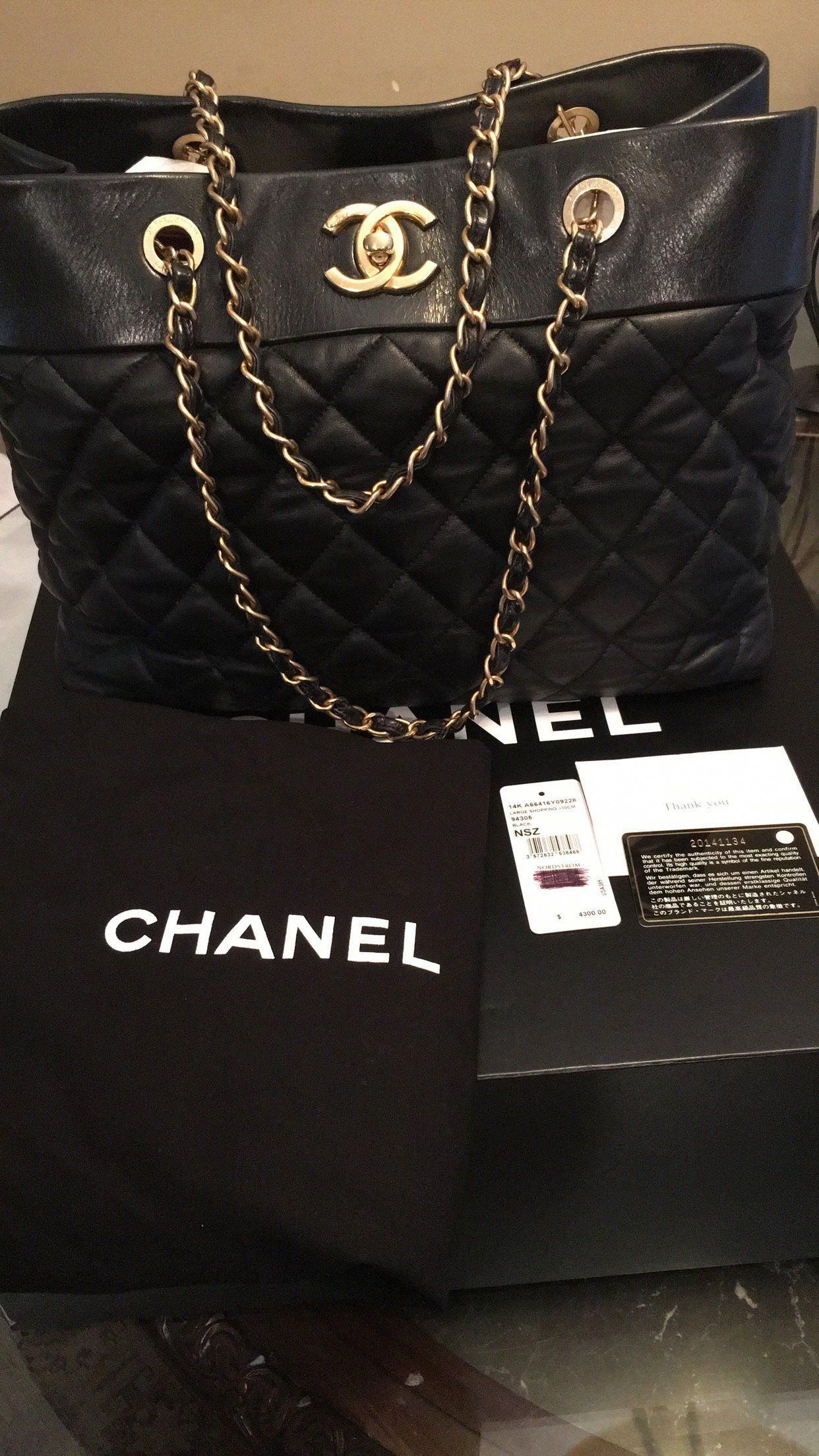 chanel quilted calf leather large shopping tote handbag black louisvuittonbags black handbag