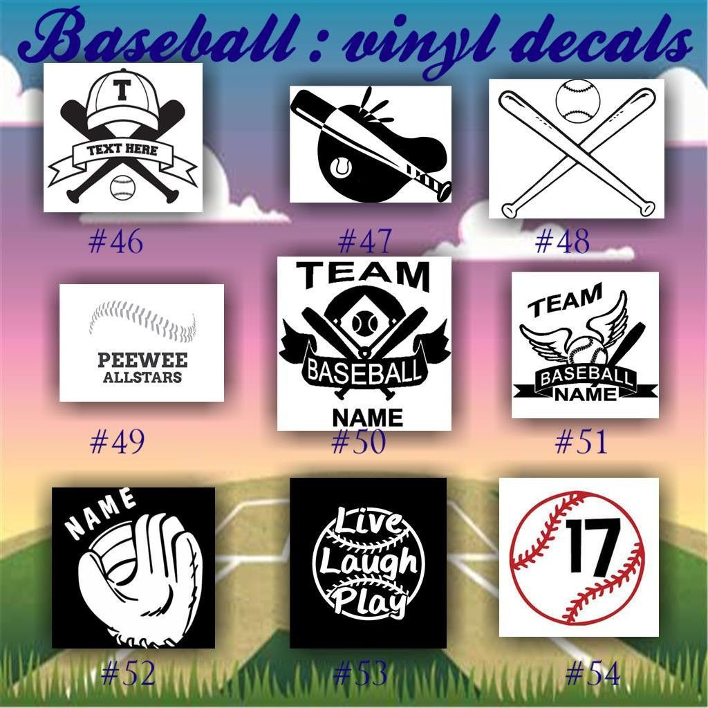 BASEBALL Vinyl Decals Car Window Stickers Team Sports - Team window decals personalized