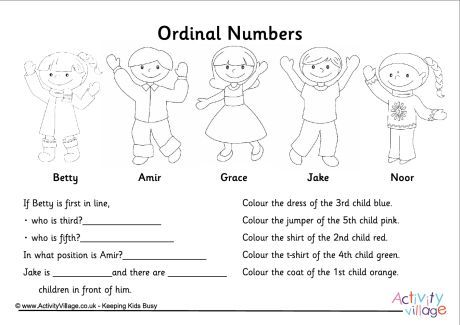 Ordinal Numbers Questions Worksheet