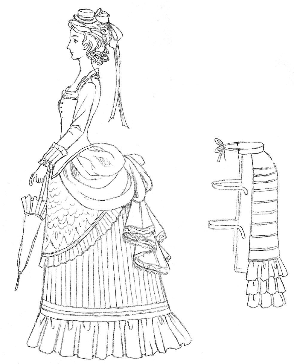 Later Victorian dress and bustle drawing Crazy quilts