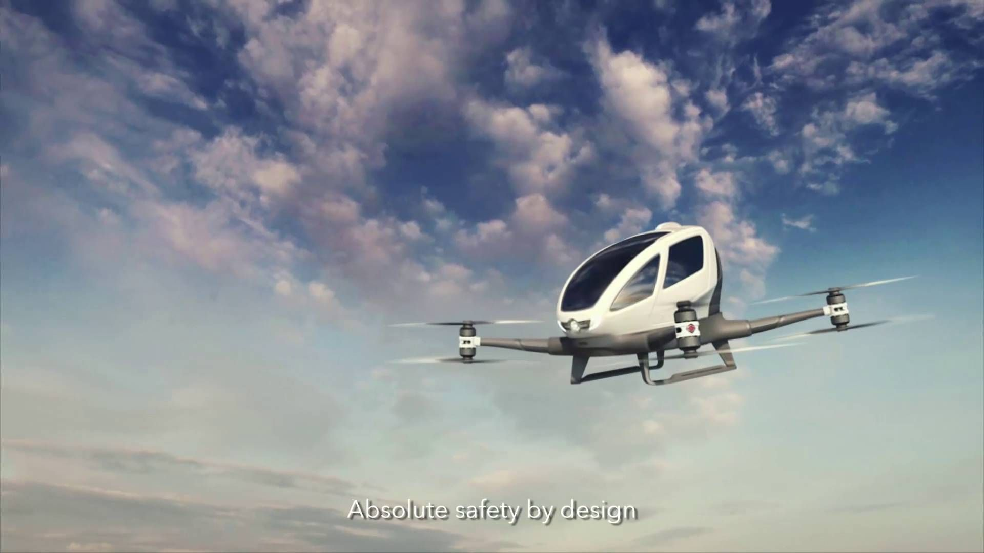 Ehang 184 flying robot taxi to shuttle passengers around