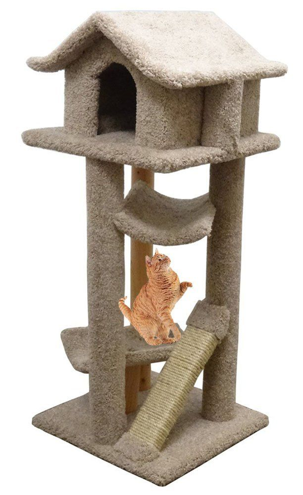 Cat Furniture House Carpet Kitty Tree Wood 2 Beds Beige Find Out More About The Great Product At The Image Lin Cat Furniture Cat Tower Furniture Cat Condo