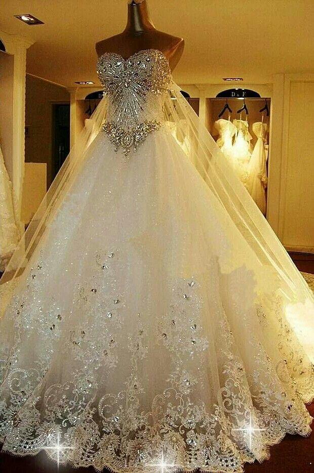 The Ultimate Bling Princess Wedding Dress Ball Gowns Wedding Wedding Dress Train Ivory Wedding Dress