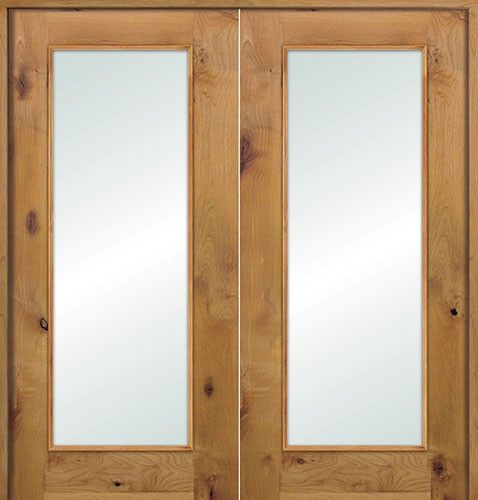 Interior French Full Lite Knotty Alder Prehung Double Wood Door ...