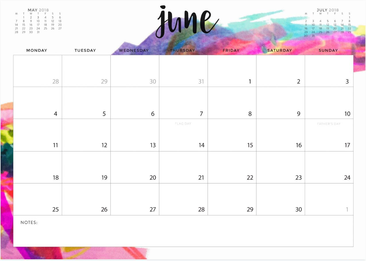Stylish June 2018 Calendar Design These Are Beautiful Free