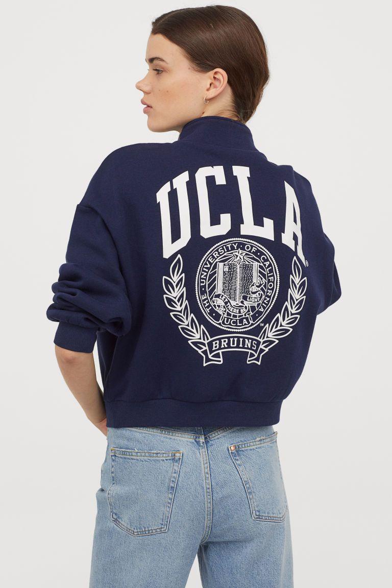 Stand Up Collar Sweatshirt Dark Blue Ucla Ladies H M Us Sweatshirts Collared Sweatshirt Ucla Sweatshirt [ 1152 x 768 Pixel ]