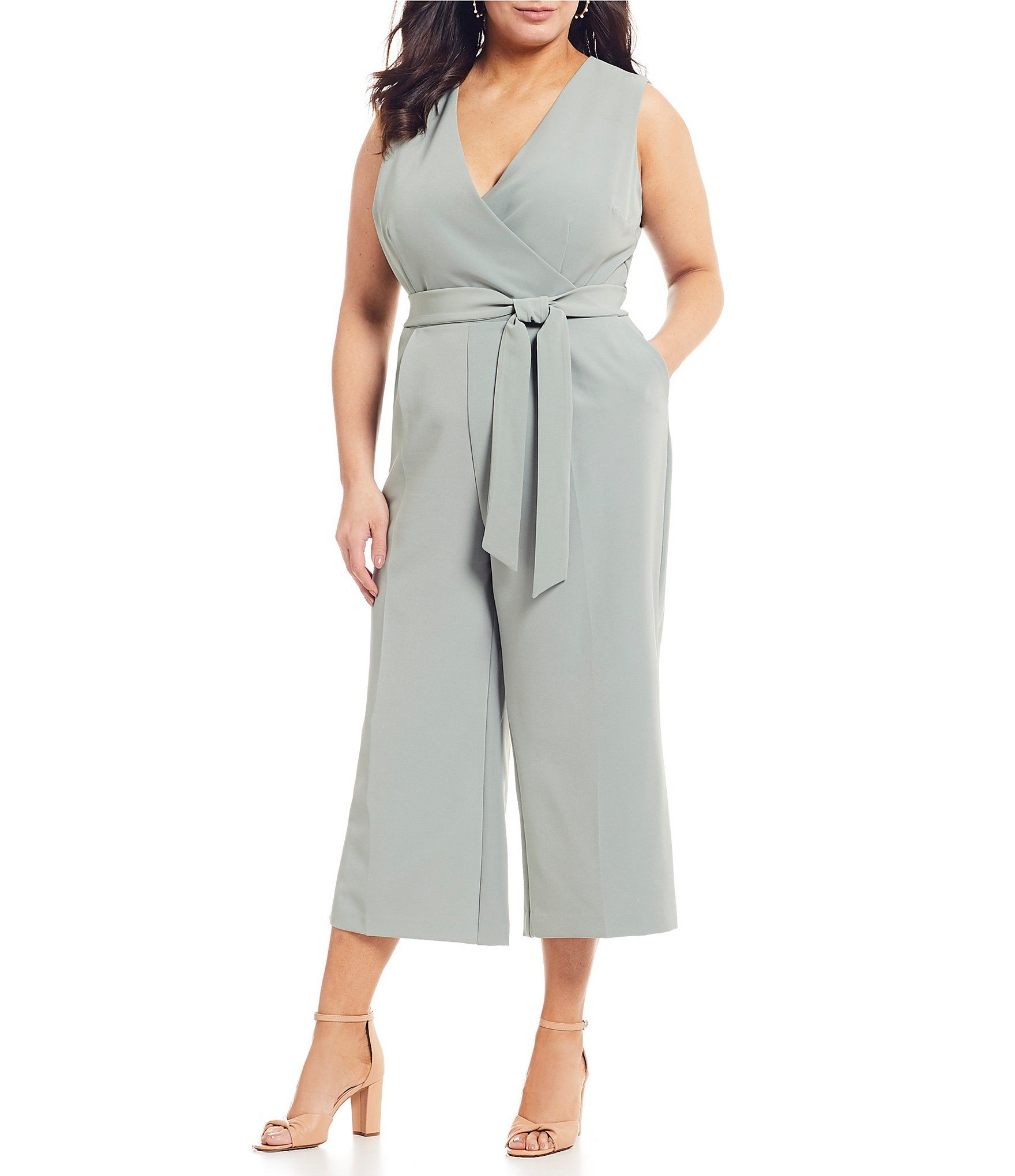 Vince Camuto Plus Size V-Neck Belted Crop Jumpsuit | Dream ...
