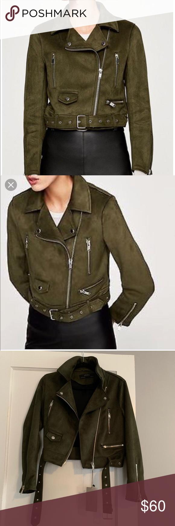 Zara Basic Faux Suede Biker Jacket In Olive Green Faux Suede Biker Jacket Jackets Zara Basic [ 1740 x 580 Pixel ]