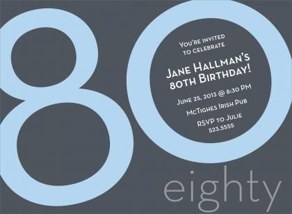 80th birthday blue birthday invitations | 80th birthday, Birthday invitations