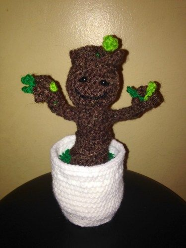 Baby Groot Gog Crocheted Tree Figure In Pot 8 Inches Made To Order