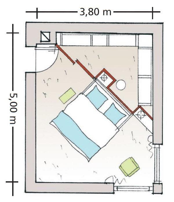 Diagonal geteiltes Schlafzimmer | Kleiderschrank | Pinterest ...