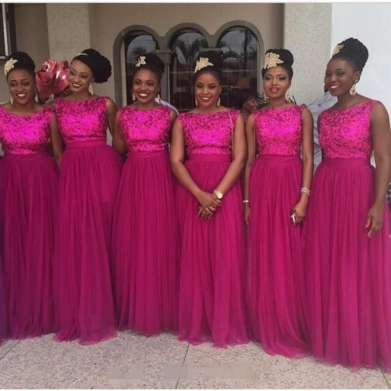 Long Fuschia Bridesmaids Dress Hot Pink Lace Bridesmaid ...