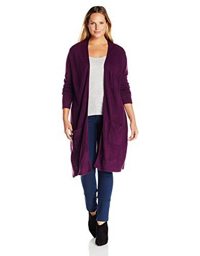 Napa Valley Women's Plus Size Cashmerlon Long Sleeves Open Duster ...