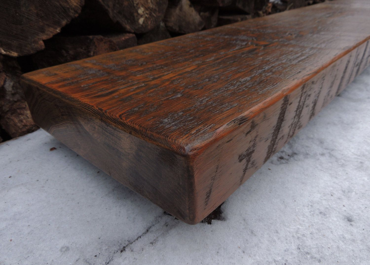 Reclaimed Wood Mantel  Rustic Douglas Fir Fireplace Mantel Or Mantle Shelf  (62 3 Gallery