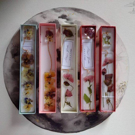 Photo of Bookmark resin flowers with pressed flowers