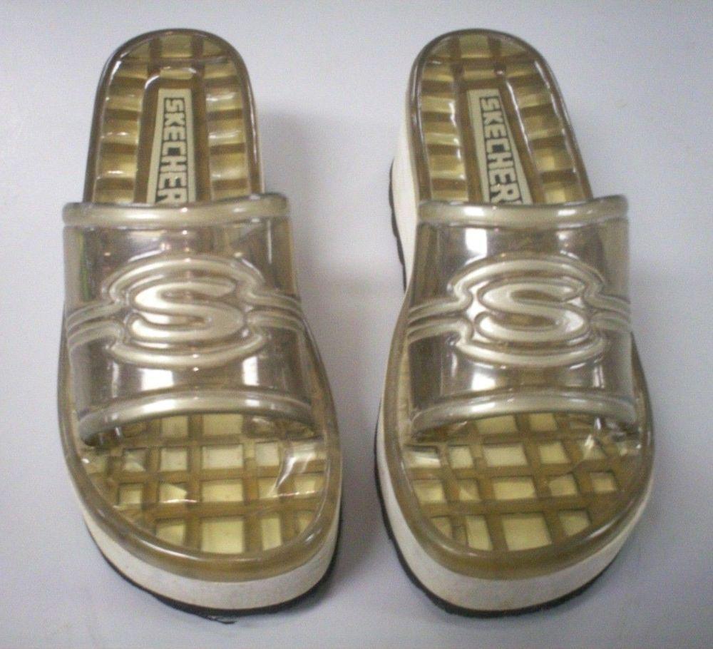 Used Womens Skechers Sport Flip Flops White Sole Clear