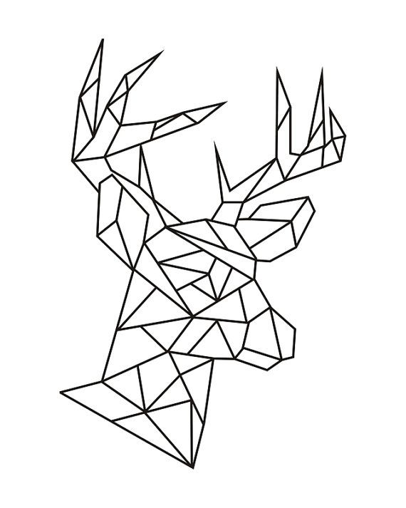 Geometric deer head instant download digital print 8x10 ...