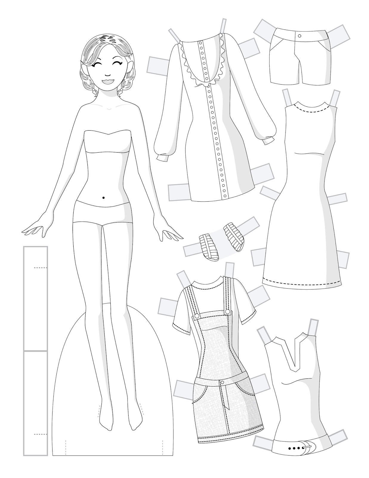 Black And White Fashion Paper Doll To Color  Paper Dolls By Julie