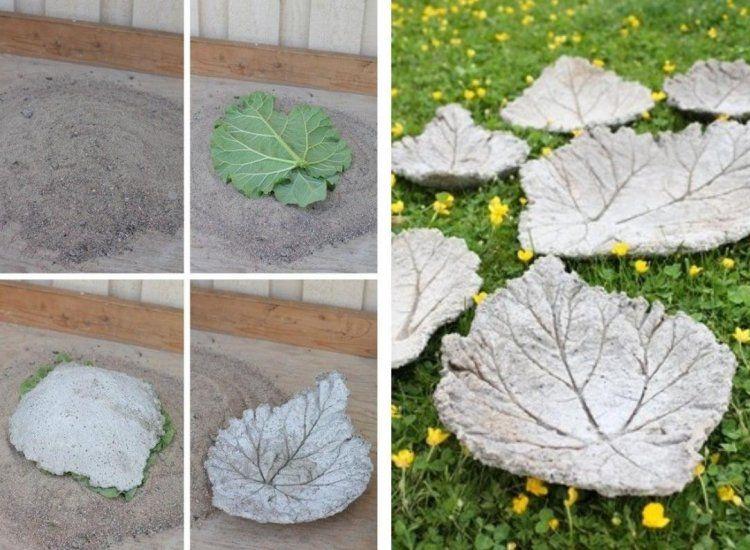 Rhabarberblätter aus Beton selber herstellen - Anleitung - gartendeko aus beton selbstgemacht