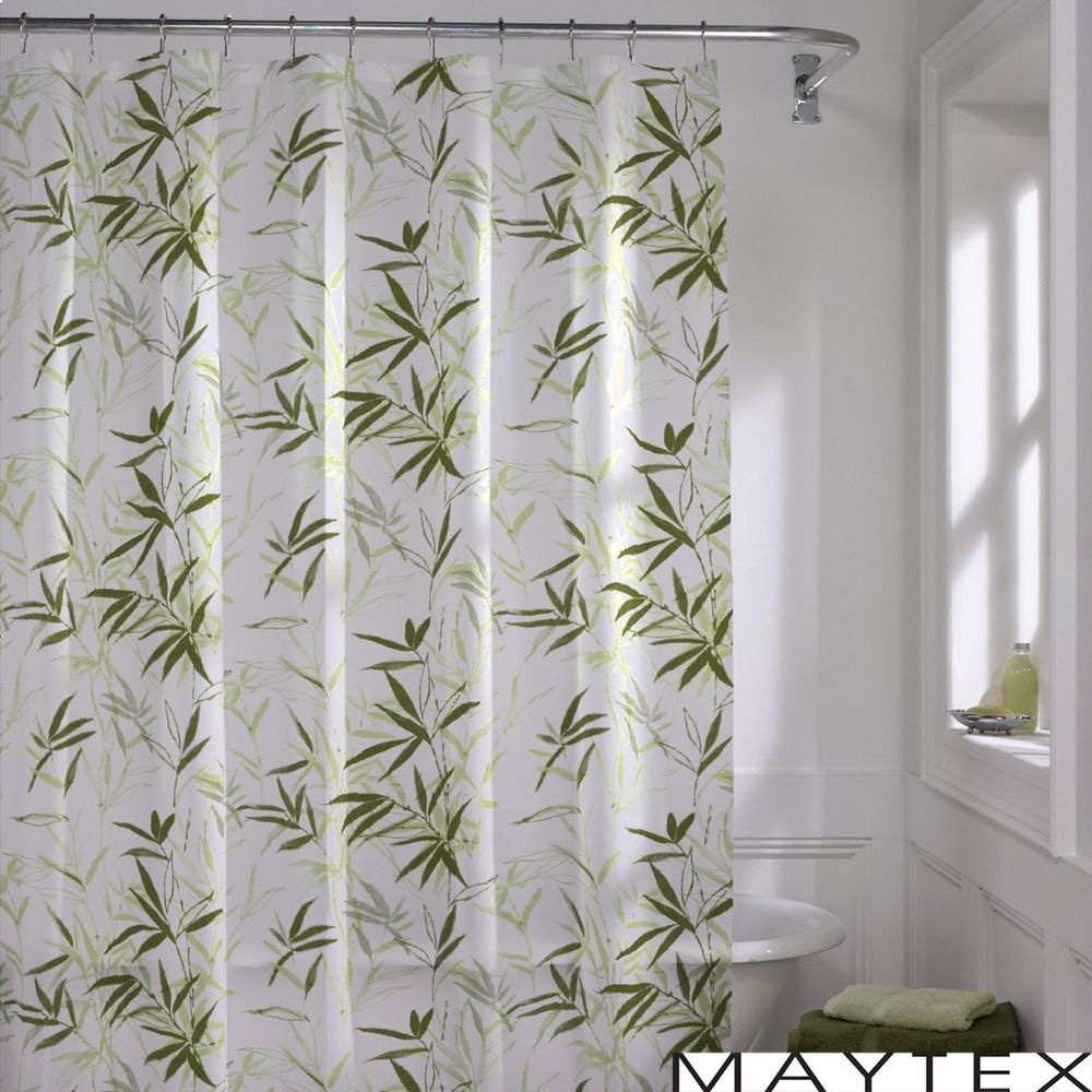 The Zen Garden shower curtain showcases a tropical green bamboo ...