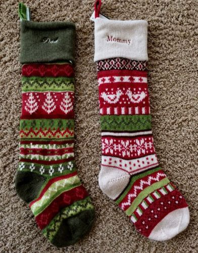 2 pottery barn classic fair isle christmas stockings mommy dad white green new