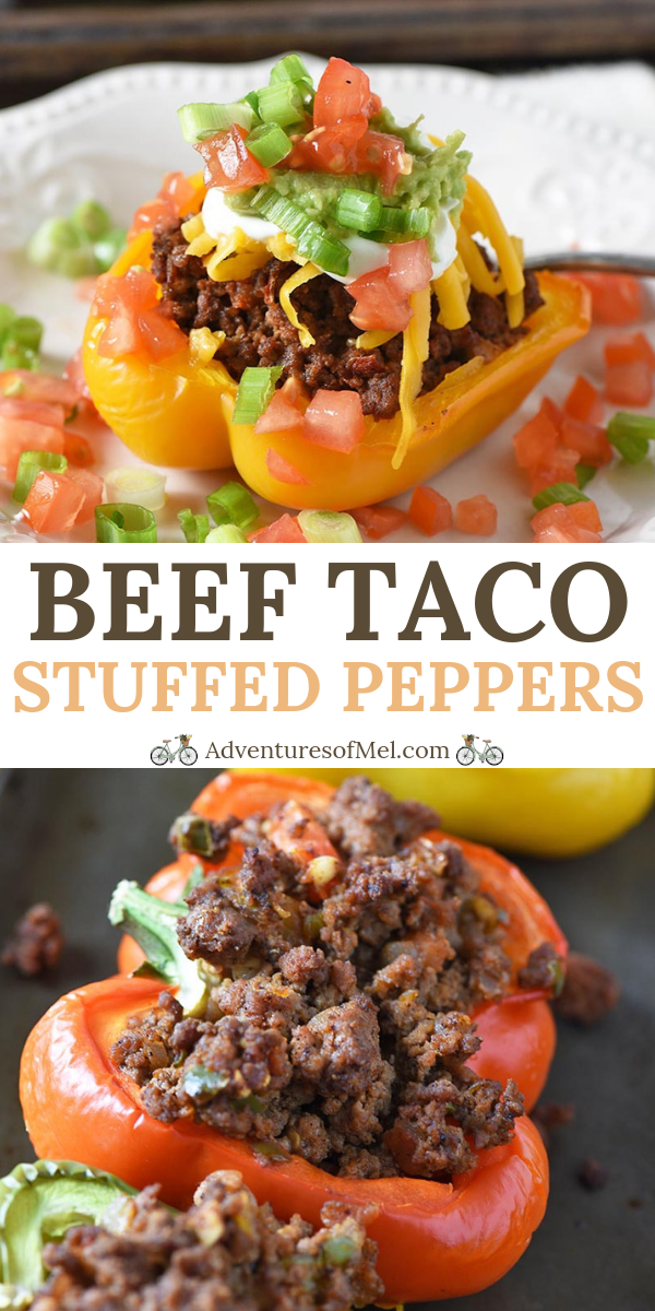 Beef Taco Stuffed Peppers - Adventures of Mel