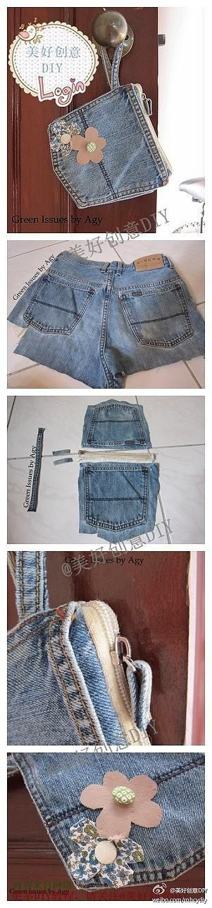 DIY jeans refashion: DIY Jeans Carrying Pouch. Pocket, recycle, upcycle, denim, pretty, crafting idea