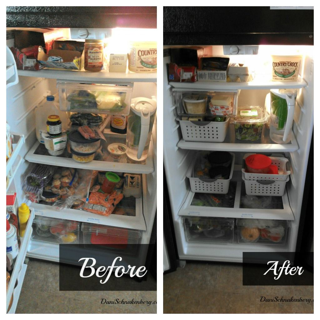 Dollar Store Kitchen Organization: Fridge Before & After
