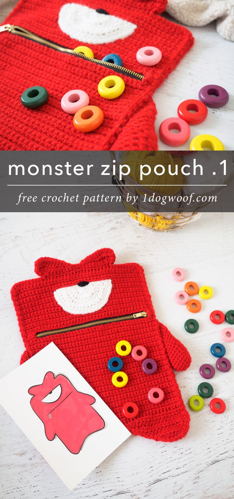 Kelvin Monster Zipper Pouch Crochet Pattern | Tasker og