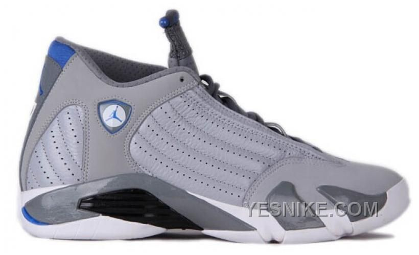 a087e388b1cb37 Authentic 487471-004 Air Jordan 14 Retro Wolf Grey White-Sport Blue