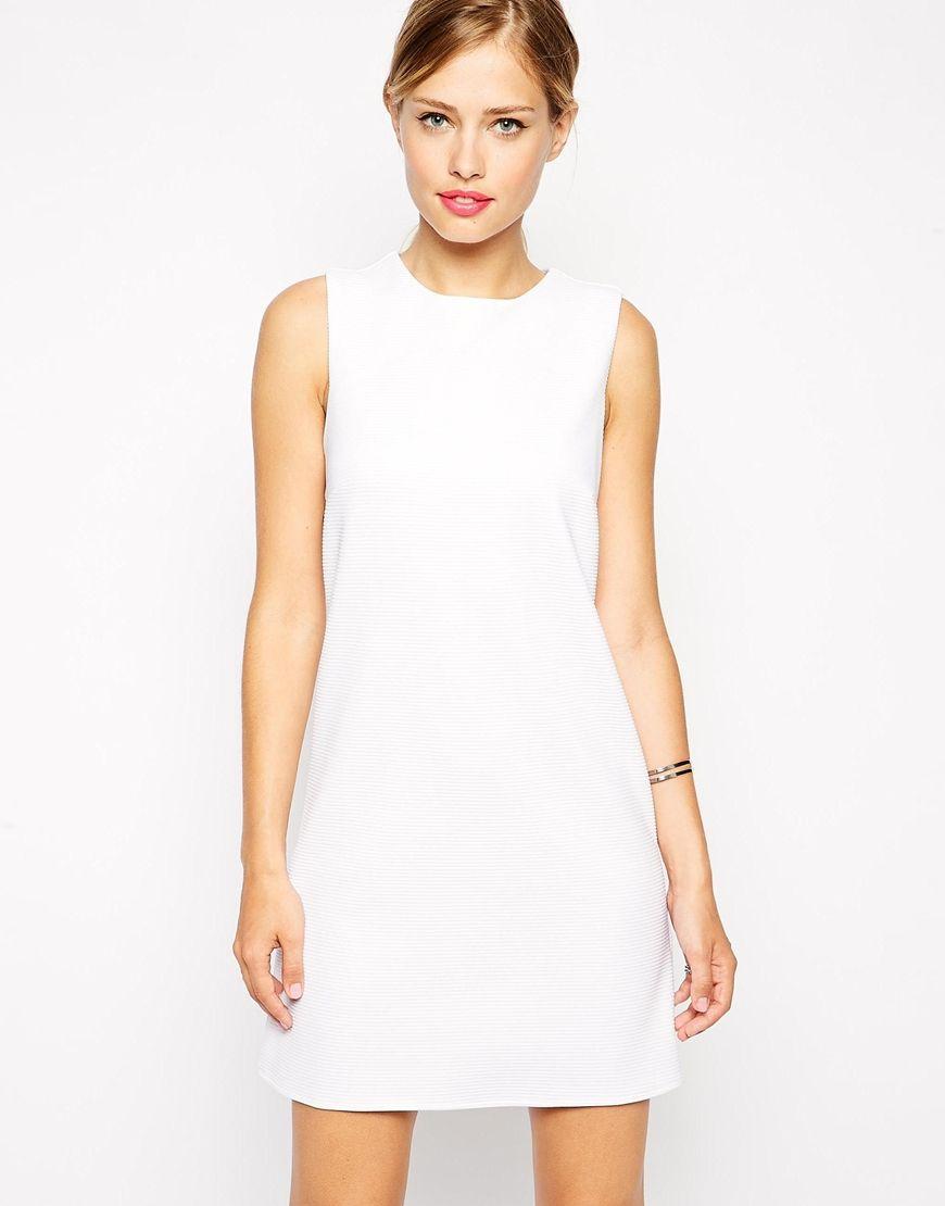 4c001b462b4 Robe blanche droite courte robe classique chic