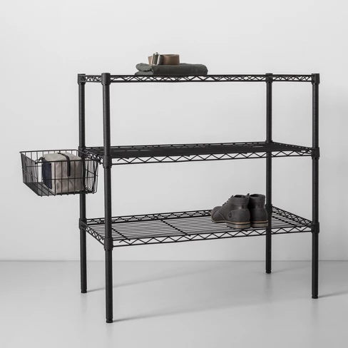 3 Tier Wide Wire Shelf Made By Design In 2020 Wire Shelving Made By Design Metal Shelving Units