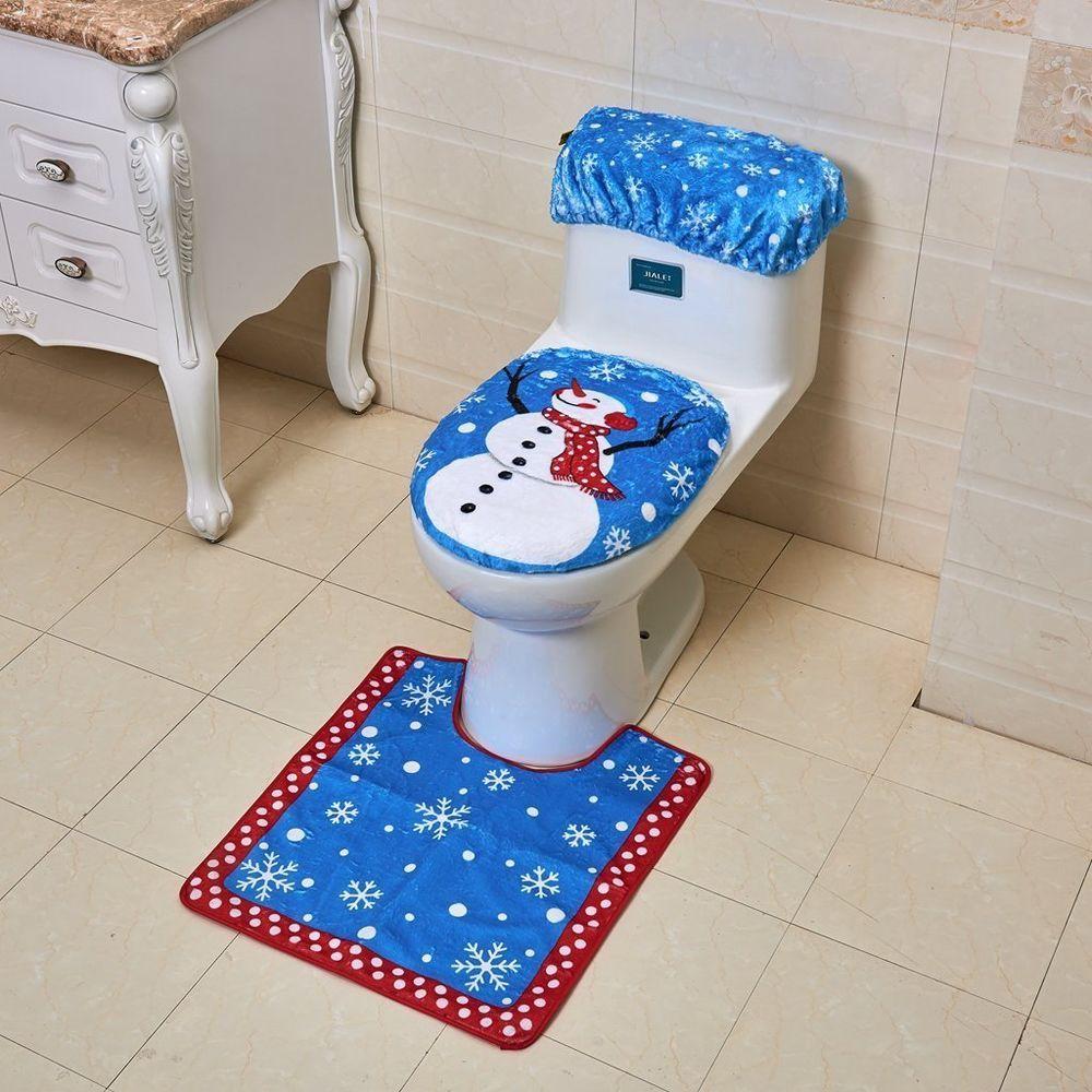 Peachy Snowman Toilet Seat Cover And Rug Set For Bathroom Christmas Cjindustries Chair Design For Home Cjindustriesco