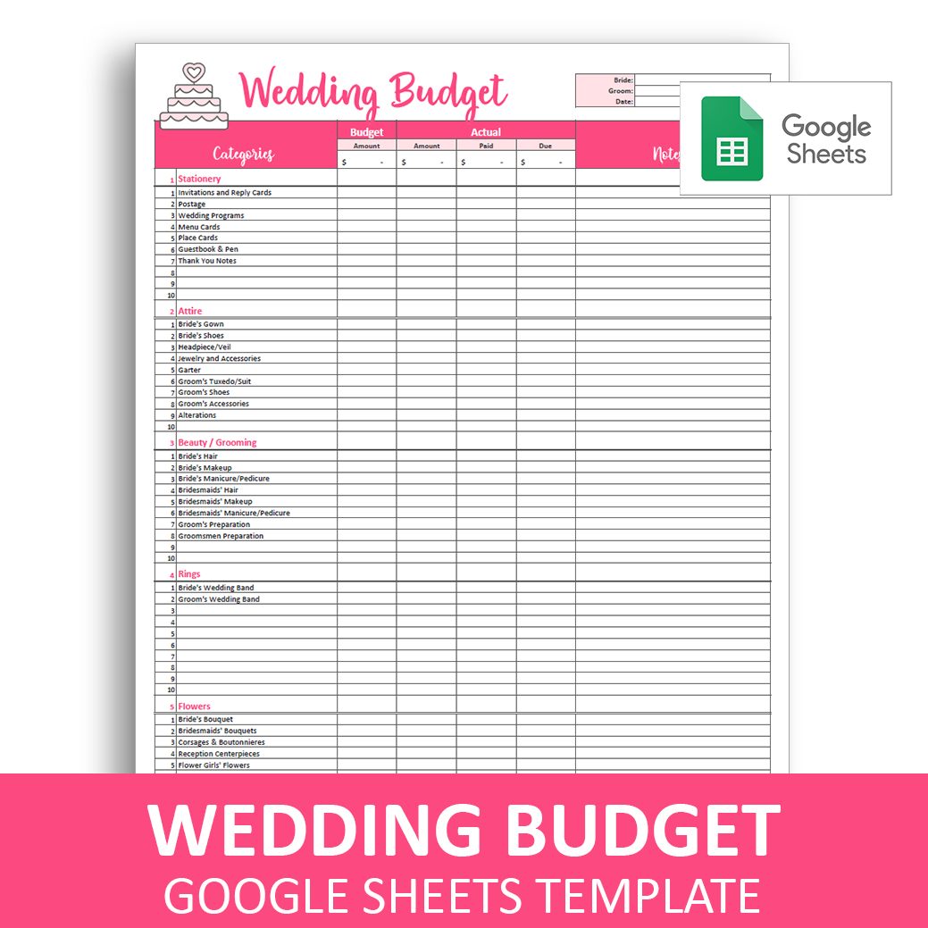 Wedding Budget Spreadsheet Template In