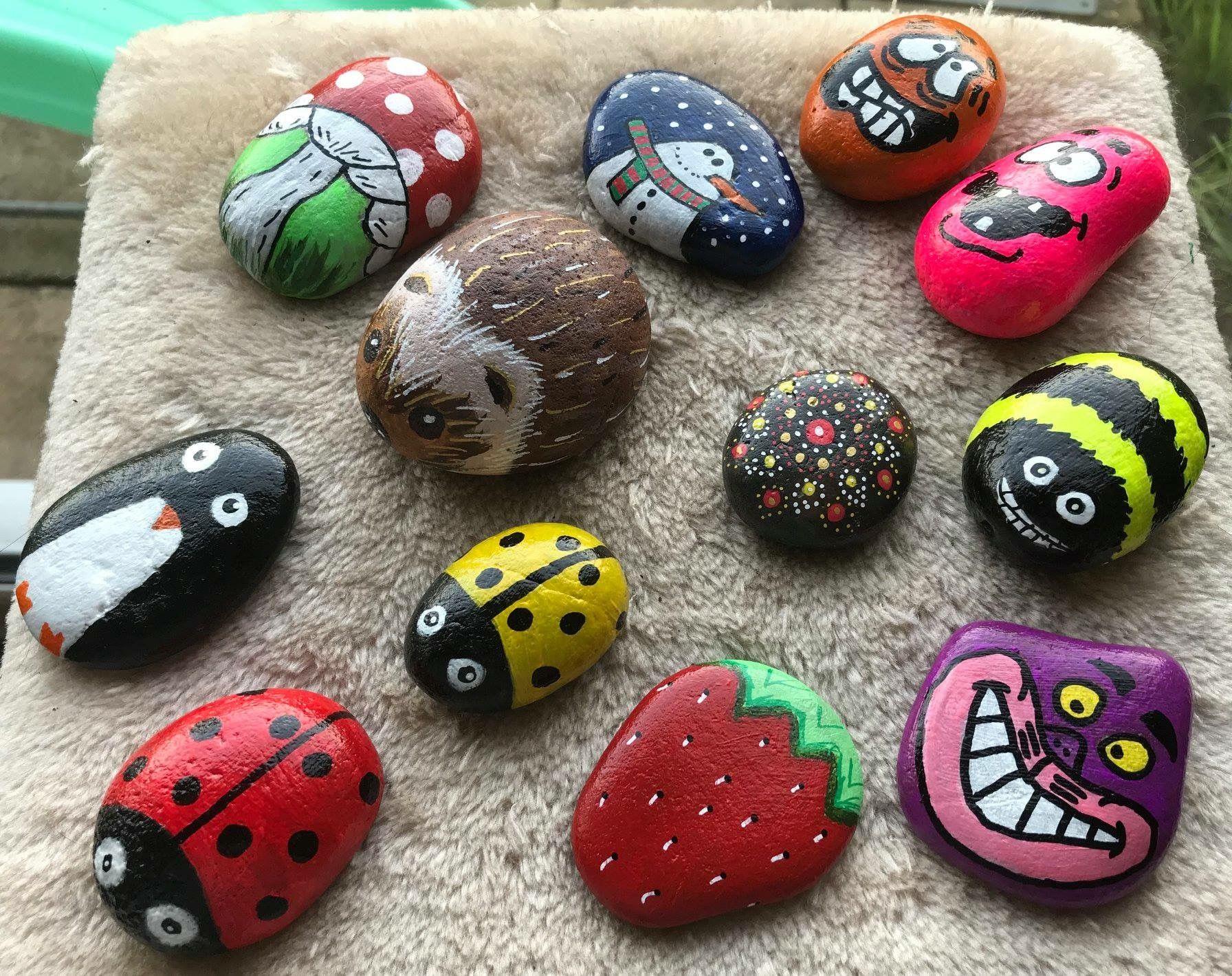 Painted Rocks Hedgehog Ladybugs Strawberry Cheshire Cat Funny Faces Snowman Penguin Mushroom Be Painted Rocks Painted Rocks Kids Rock Painting Patterns