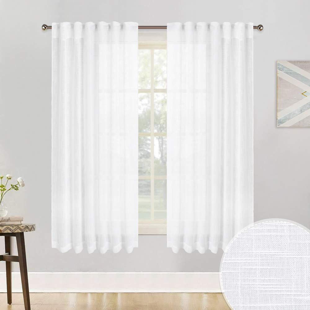 Ryb Home Texture White Voile Window Dressing Decoration Rod Pocket