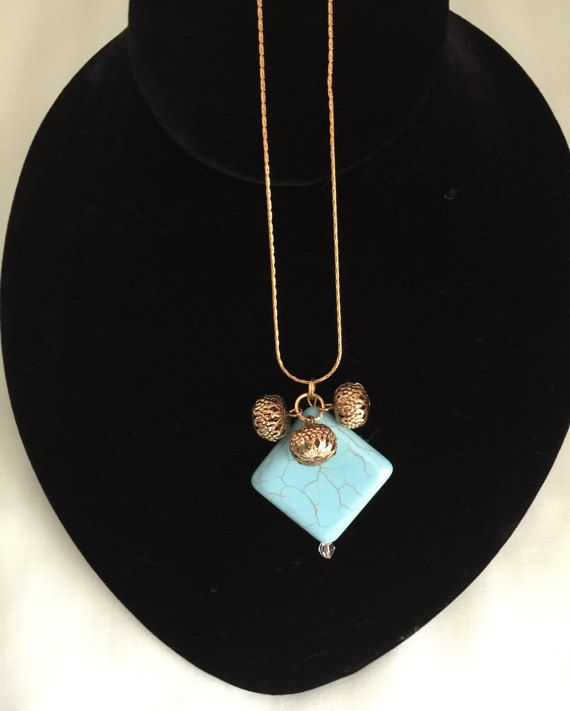 Stone Pendant with Chain and Metal Beads by MyCreationsDesigns