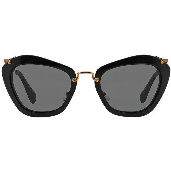 e61d86aa17cc Miu Miu Mu 10ns Black Shiny Cat Sunglasses ( 430) found on Polyvore  featuring women s fashion