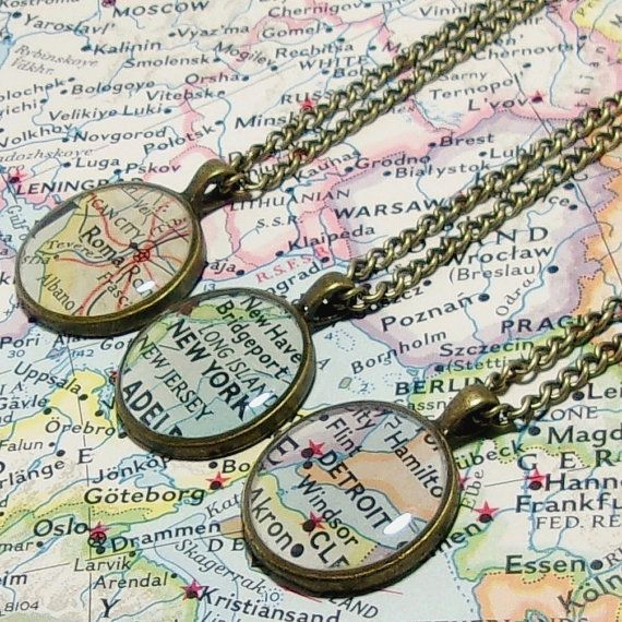 Custom vintage map necklace you select location anywhere in the custom vintage map necklace you select location anywhere in the world one necklace map pendant map jewelry map travel world map gumiabroncs Gallery