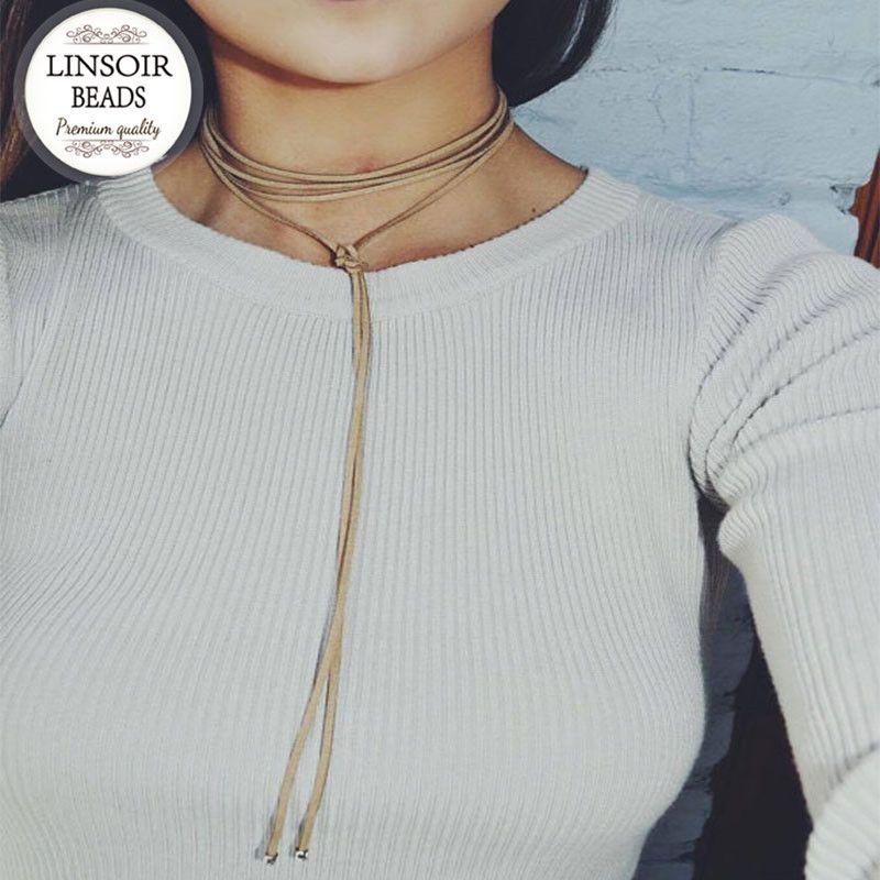 2017 preto/marrom de camurça veludo couro choker colar para mulheres elegantes moda longa corda chocker colar collier femme f3918