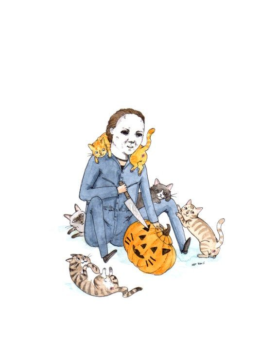8×10″ Print – Meowlloween – Halloween with Cats Horror  Art Print