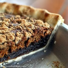 Sallie's Shoo Fly Pie   Kind of a cross between pecan pie (minus the pecans), sticky toffee pudding and gingerbread. Gooey on the bottom, a moist cake-like layer and then a sprinkling of crumbles on top. Add a dollop of whipped cream... #Dessert