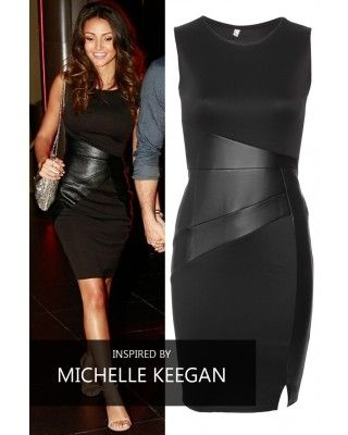 Celeb Inspired Bodycon Dress With Leather Look Detailing Black