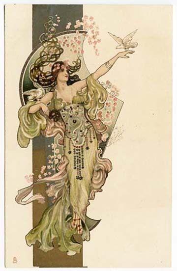 Raphael Tuck Eva Daniell Beautiful Art Nouveau Woman Bird Postcard Ebay Art Nouveau Illustration Art Nouveau Poster Alphonse Mucha Art