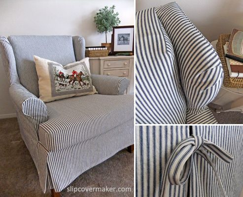 Sherrill Wing Back Chair Navy And White Fabric | Ticking Slipcover  Pinterest