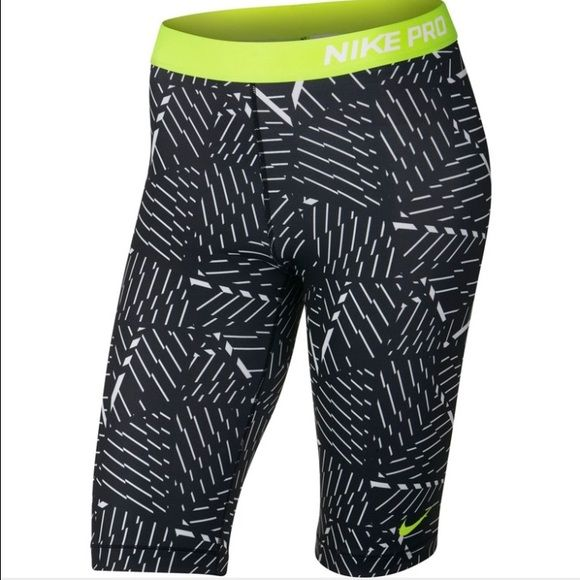 """Nike Women's Pro Core BASH 11"""" Compression Shorts NIKE PRO DRI-FIT Base Layer Tight Fit Running Shorts  Color: Black / Yellow Volt / White  Fabric: DRIFIT 80% Polyester, 20% Spandex  Style No: 658265-100  Length: 11"""" Inseam.  Goes to right above the knee. Nike Shorts"""