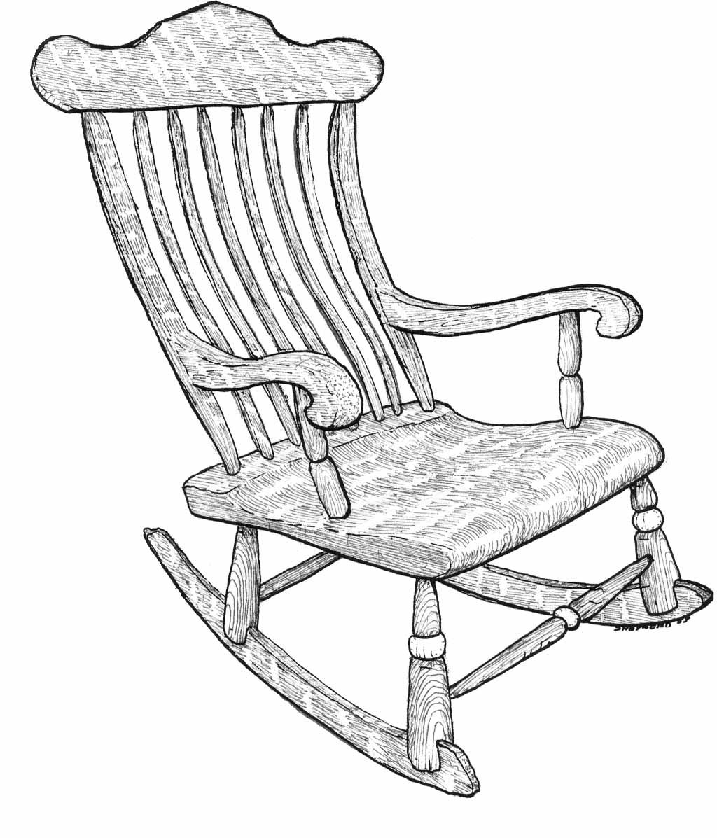Wooden Rocking Chair Drawing