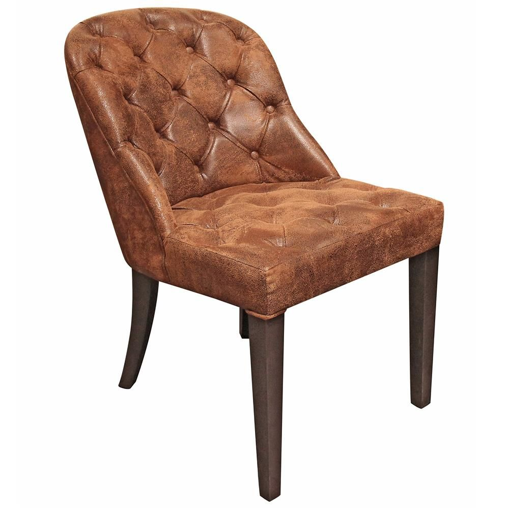 rustic leather dining chairs. Angier Rustic Lodge Tufted Amber Brown Leather Dining Side Chair Chairs